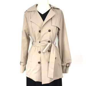 Solid Double Breasted Belted Trench Coat